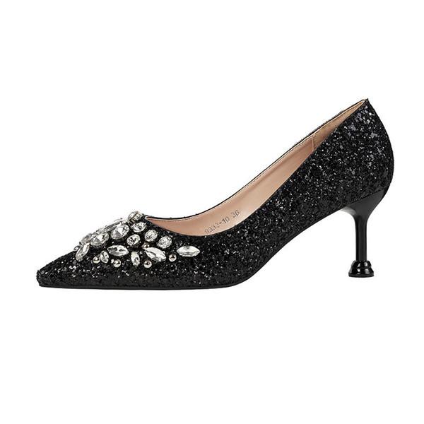 Primavera 2019 y otoño, nueva versión coreana de lentejuelas puntiagudas, tacón alto, zapatos de mujer, negro, modelo 0510.