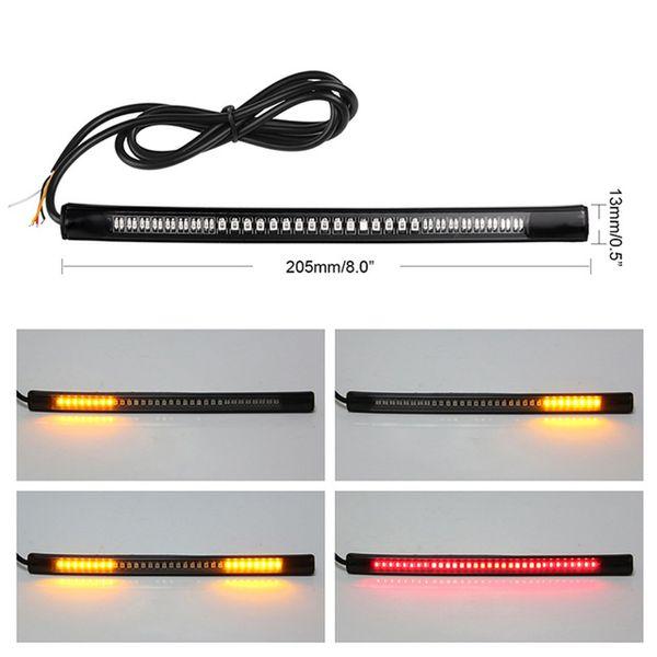 2 pcs Universal Motorcycle Brake Brake Stop Turn Signal Integrado LED Light Strip 48LED Luz de Sinalização Flexível placa de Licença lâmpada