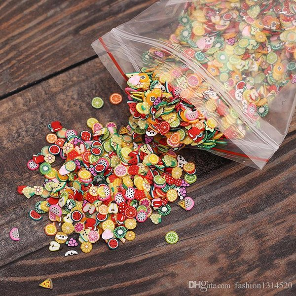 Decoration 500pcs fimo stickers nail art tips sticker 3D fruit animal mix fruit heart slice flower DIY