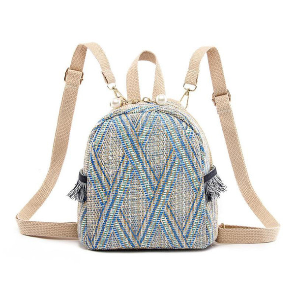 Hot Sale 3 Style Straw Woven Small Women Backpack Stripe Print Shoulder School Knitting Backpack