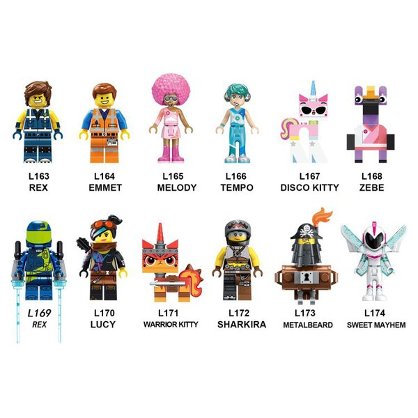 Building Blocks Big Movie 2 Bricks Emmet Melody Tempo Zebe Rex Warrior Kitty Lucy Figures For Children Collection Toys L163-L174