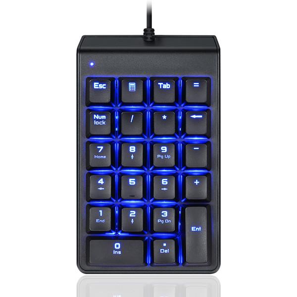 Механическая цифровая клавиатура Тонкий голубой подсветкой USB Проводная 22 Клавиши для ноутбуков Desktop PC ND99
