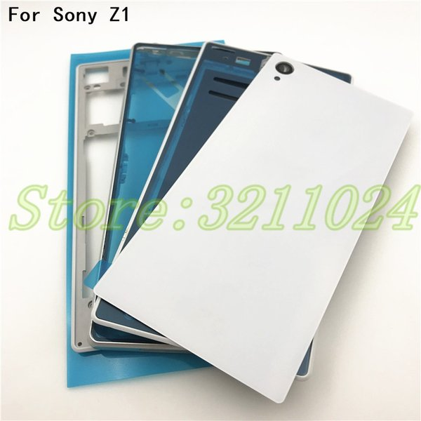 Original For Sony Xperia Z1 L39H C6902 C6903 Front Middle Frame Port Plug Cover Back Glass Battery Cover Full Housing With Logo