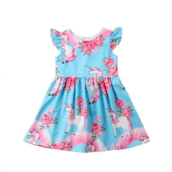Yürüyor Çocuk Bebek Kız Unicorn Parti Pageant Örgün Tutu Elbise Sundress Giysileri