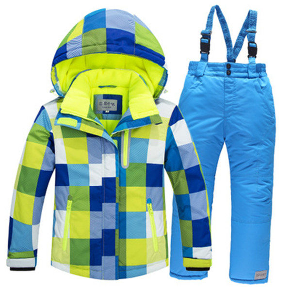 -30 boys and girls Children Snow clothing Outdoor ski suit set Waterproof windproof Warm Costume winter snow jacket and bib pant