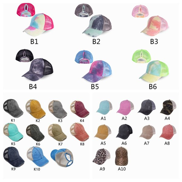 best selling Ponytail Baseball Caps Gliter Messy Bun Hats Washed Cotton Tie Dye Snapbacks Leopard Sun Visor Outdoor Hat Party Hats ZZA2048 30Pcs