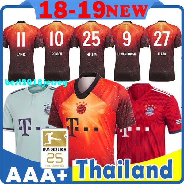 online store c90cc e171a Großhandel Bayern München Thai Qualität 18 19 Top FC Bayern EA Sporttrikot  25 Muller Trikots 11 James Trikot 27 Alaba Trikot 1 Neuer Trikots Von ...
