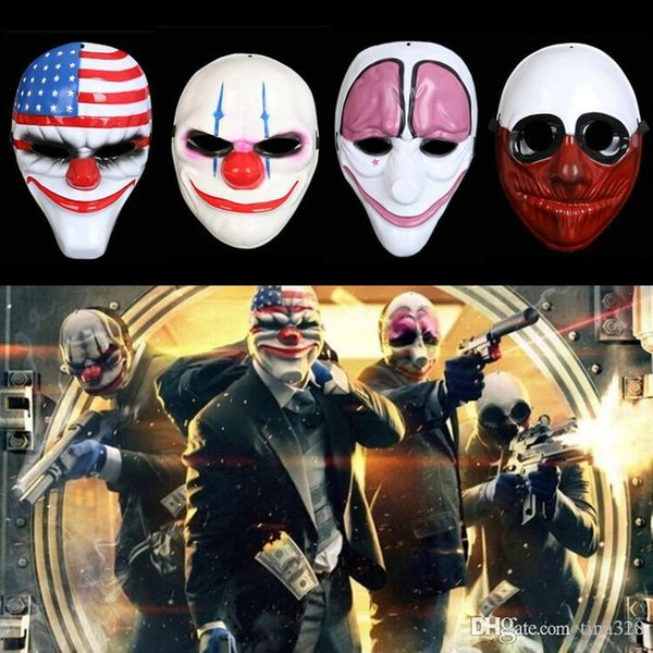 Hot Halloween Clown Mask Game Payday 2 Chains Dallas Wolf Hoxton Costume Dress Props Cosplay Party Mask Plastic mask IB321