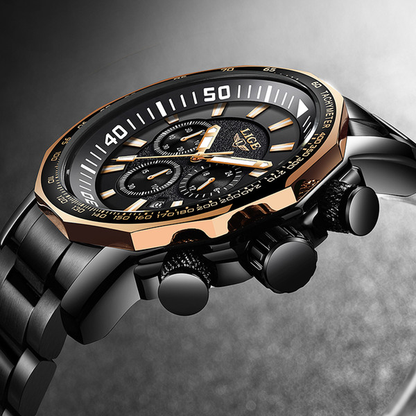 2019 LIGE Mens Watches Top  Analog Quartz Watch Men All Steel  Waterproof Sport Clock Relogio Masculino+Box