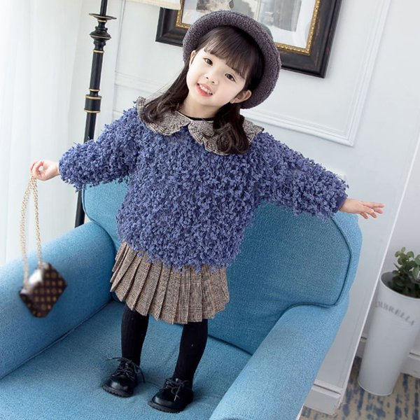 Winter Baby Girl Sweaters Kids Solid Long Sleeve Plus Velvet Tops Casual Toddler Outerwear For Girls Children Sweater New