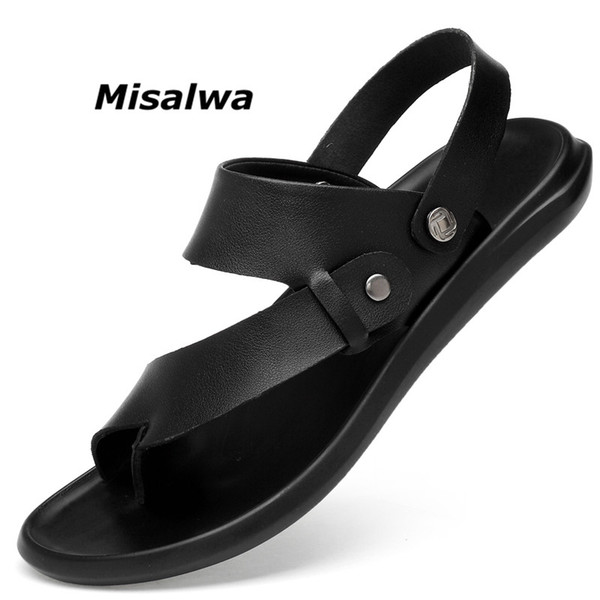Misalwa New Arrival Men Flip Flops Fashion Black Leather Hot Summer Slipper Casual Lightweight Thongs 2019 Male Sandals Footwear