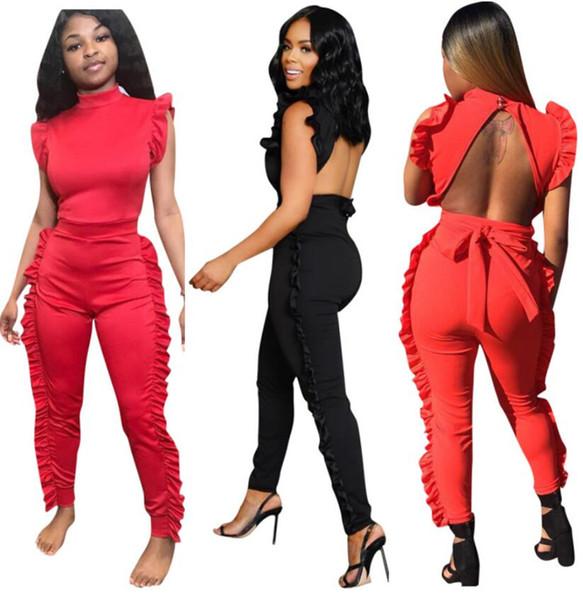 Mulheres Macacões Sem Mangas Ruffles com faixas cinto sem encosto longo macacão sexy sprint senhora verão roupas preto vermelho 8944