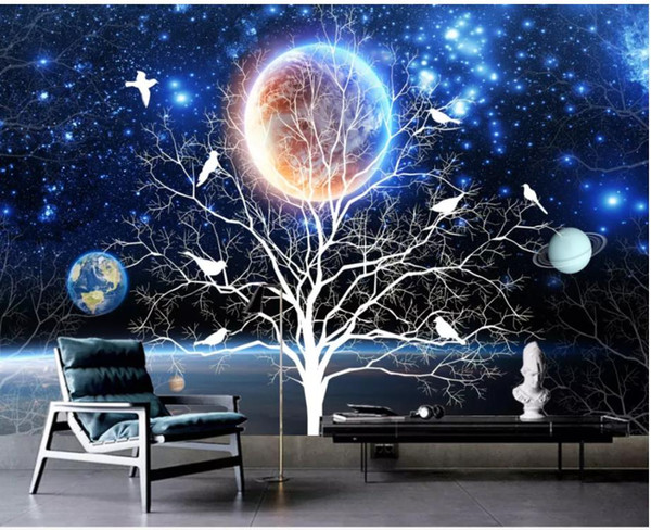 New Chinese abstract fantasy beautiful starry flowers and birds TV background wall
