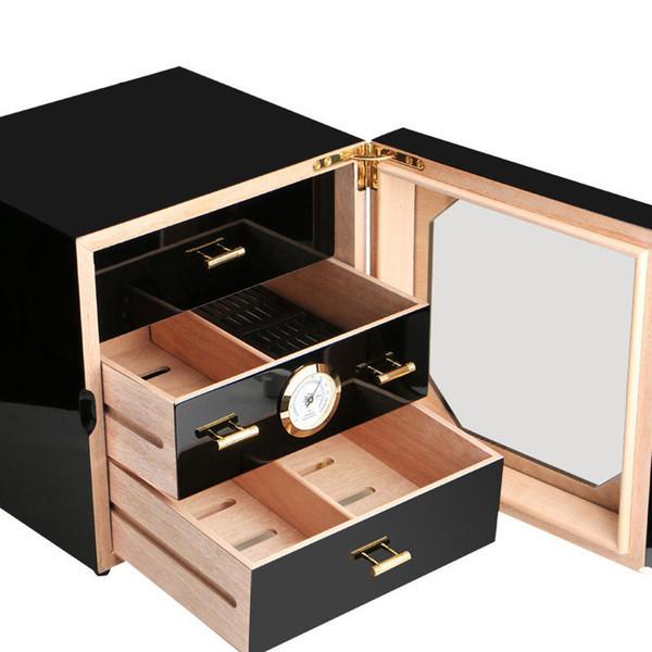 In Stock Luxury COHIBA Black Cigarette Box Cabinet Cedar Cigarette Piano Baking Humidor 3 Drawers with hygrometer & humidifier