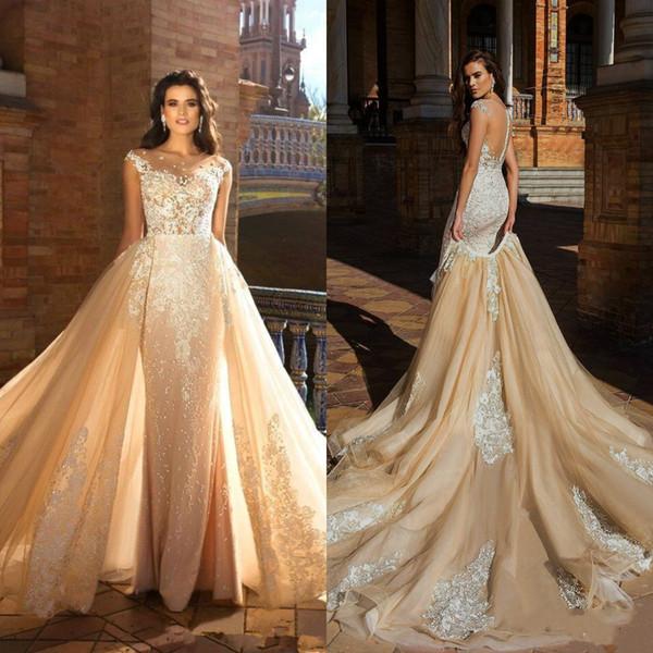 Charming Wedding Dresses Cap Sleeve Arabic Plus Size Bride Dress Removable Skirt Plus Size Bridal Gowns