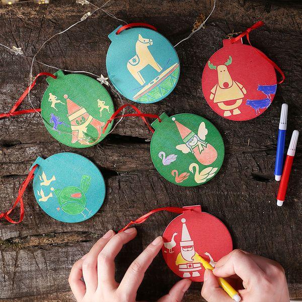 Regali Di Natale In Legno Fai Da Te.Acquista Regali Di Natale Fai Da Te Ornamenti Di Magic Coloring Doodle Di Natale Palla Di Legno Pandents Disegno Kids Crafts Bambini Formazione Gioca