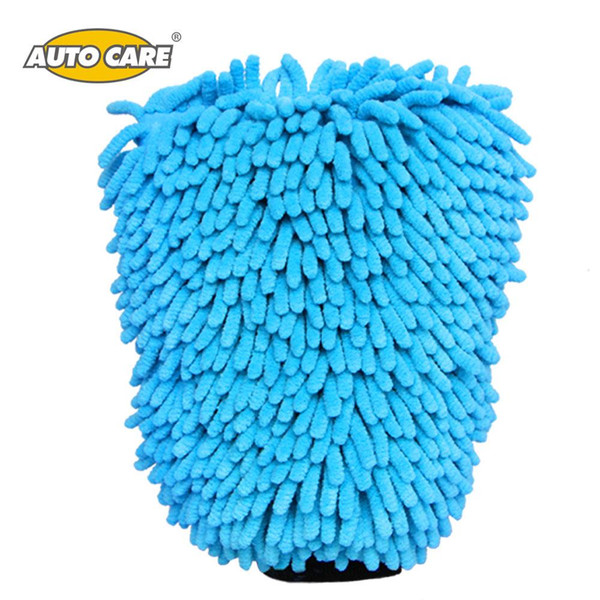 Wholesale- Auto Care 2 in 1 Ultrafine Fiber Chenille Microfiber Car Wash Glove Mitt Soft Mesh backing no scratch for Car Wash and Cleaning