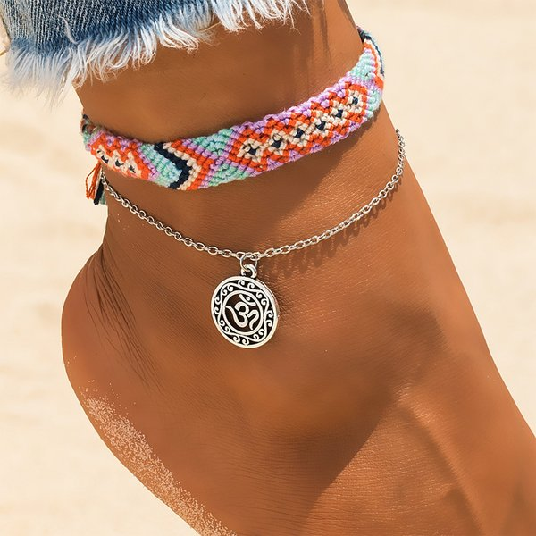 top popular Vintage OM Rune Weave Anklets For Women 2019 New Handmade Cotton Anklet Bracelets Female Beach Foot Jewelry Gifts 2 PCS Set 2019