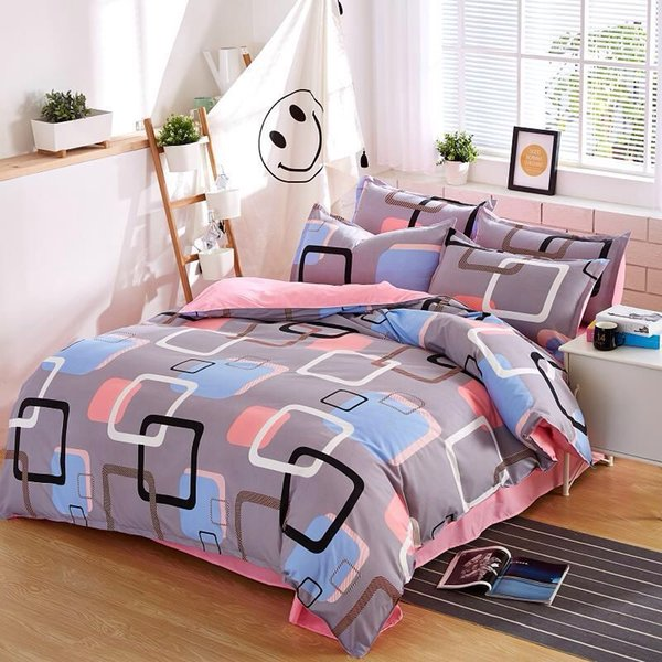 Coloured Lattice Bedding Sets 3/4pcs Geometric Pattern Bed Linings Duvet Cover Bed Sheet Pillowcases Cover Set