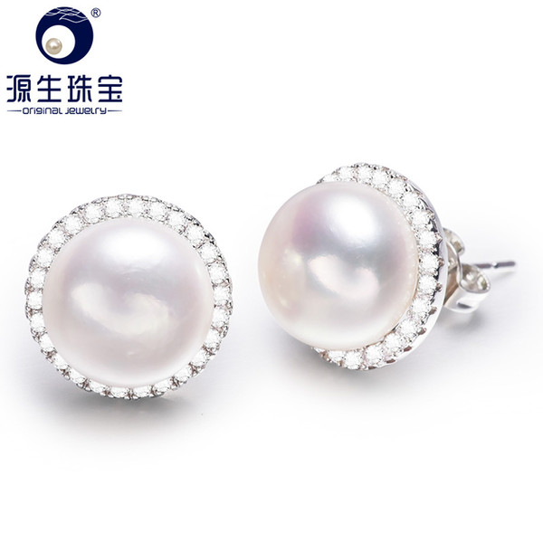 [YS] Sliver Stud Earring 10-11mm agua dulce Pearl Stud Earring 3 colores disponibles