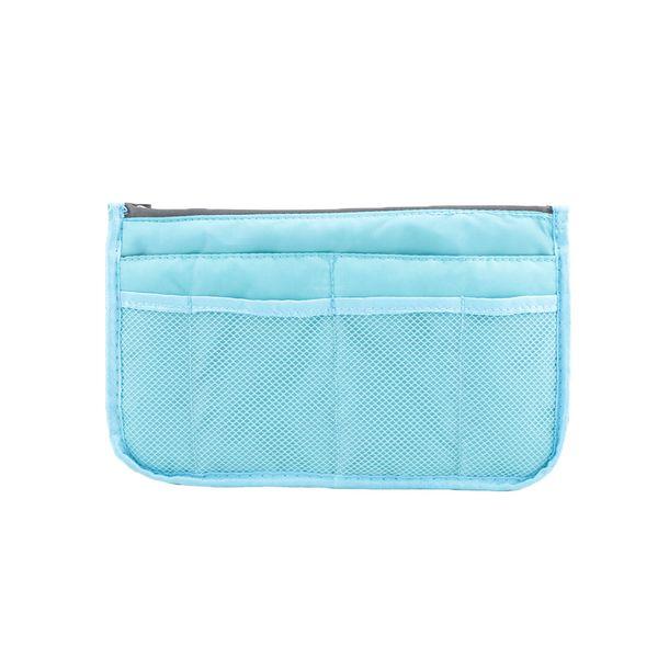 Simple Insert Bag Women Men Nylon Travel Insert Organizer Handbag Large Capacity Lady Makeup Cosmetic Bag Double Zipper Tote