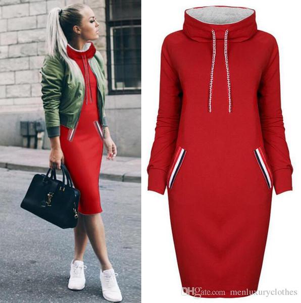 Женщины подростковое дизайнерское повседневное платье с капюшоном сплошного цвета с карманами модное платье