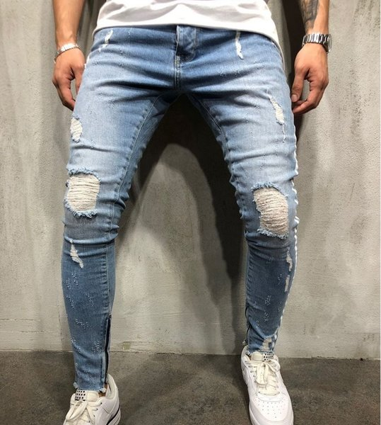 Мужские дизайнерские джинсы с рваными рваными длинными голубыми полосатыми джинсовыми брюками