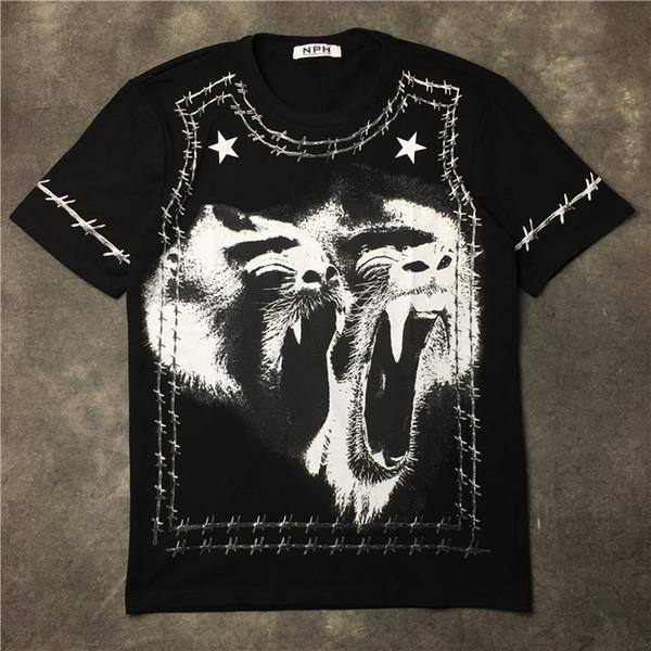 givenchy men Designer de moda de luxo T-shirt dos homens novos em espinhos quentes 2,019 comércio exterior rugindo T-shirt macaco babuíno impressa