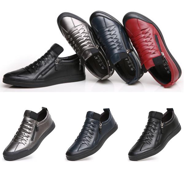 2020 Hot Vollständiger Verkauf Frühlingsmensschuhe Leder weichen Boden Freizeitschuhe weiche Oberfläche schwarz blau Sportschuhe Größe 39-44 freies Verschiffen