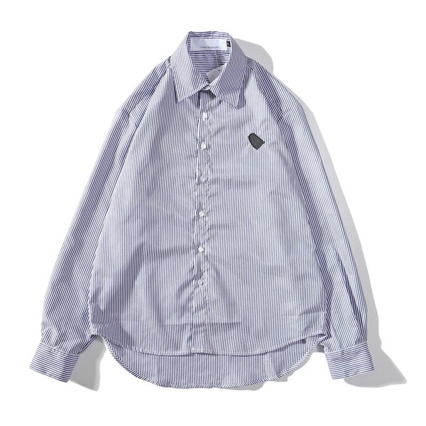 2019 New Embroidery Heart Knitted Shirt Love Mens and Womens Designer Dress Shirts Cotton Striped Long Sleeve Cusual Chemise Size M-2XL
