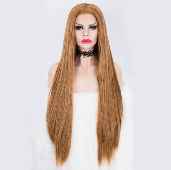 Free Shipping Heat Resistant Fiber Hair Synthetic Wig Honey Blonde Silk Straight Lace Front Wigs for Women Natural Hairline Middle Part