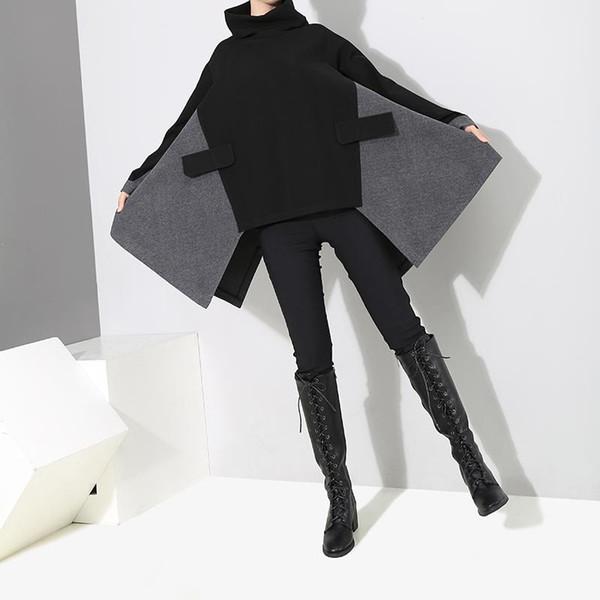 2019 koreanische Art-Frauen-Schwarz-Patchwork-übergroße lange Pullover-Sweatshirt-Rollkragen-weibliches beiläufiges einzigartiges Abnutzungs-Sweatshirt F287