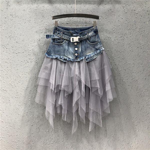 2019 Summer Denim Jeans Jupe Femmes irrégulière Tulle Jupes taille haute maille Patchwork plissées mi-mollet Jupe Tutu High Street