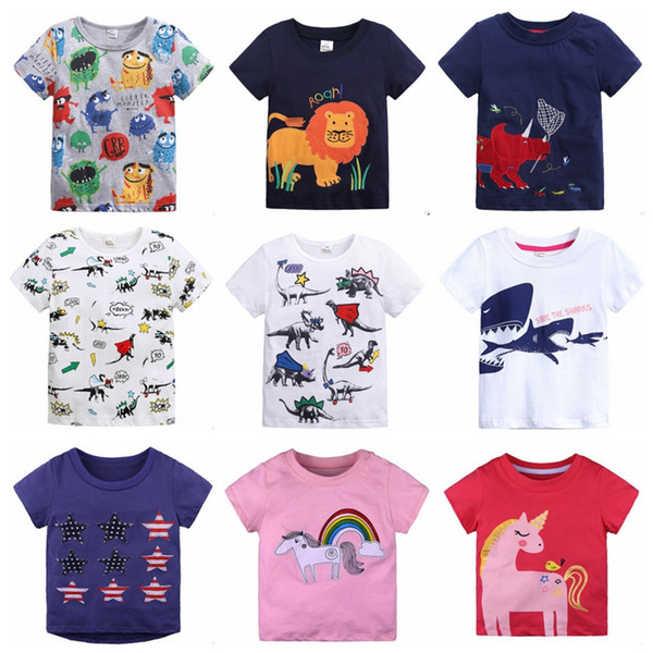 INS Baby Shirts Tier Applizierte Kinder T Shirts Kurzarm T-Shirts Cartoon Jungen Tops Kinder Outfits Sommer Baby Kleidung 31 Designs DHW2490