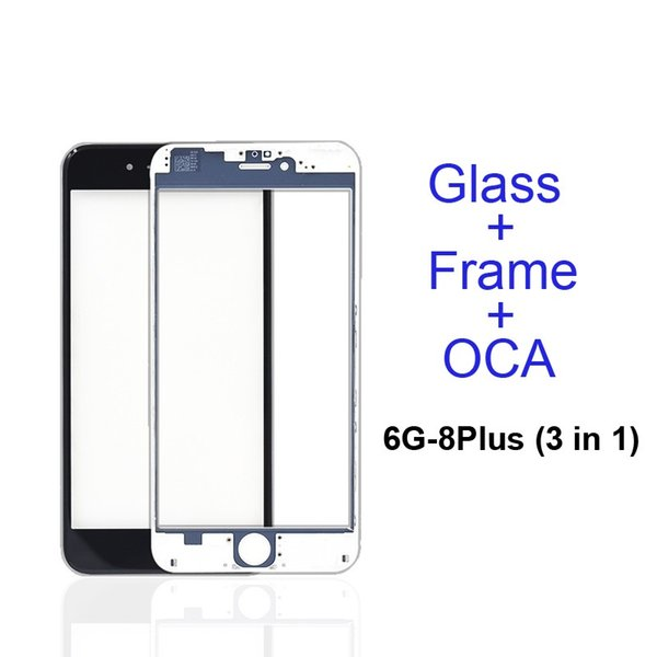 Front Touch Screen Panel Outer Glass Lens + Cold Press Middle Frame Bezel + OCA Installed for 5s 5c 6 6s 7 8 plus