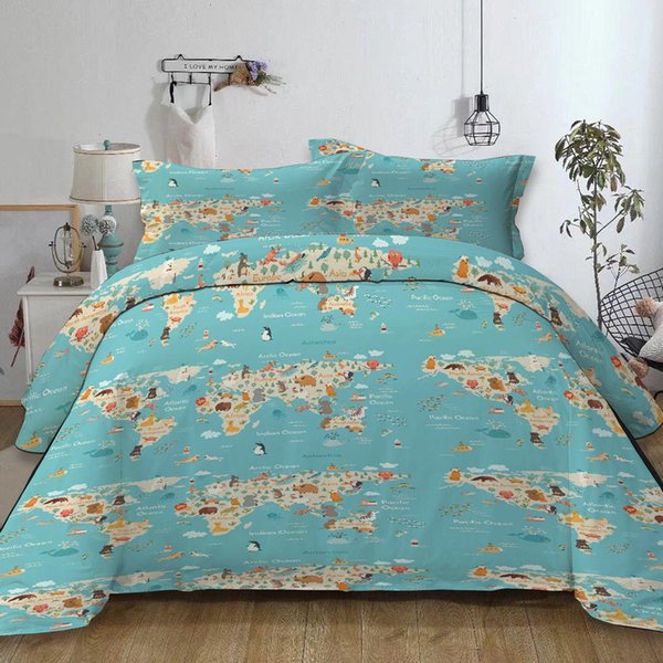 World Map Bedding Set Single Cartoon Creative Animals Blue Duvet Cover  Queen Size King Double Full Twin Soft Bed Cover With Pillowcase White  Bedding ...