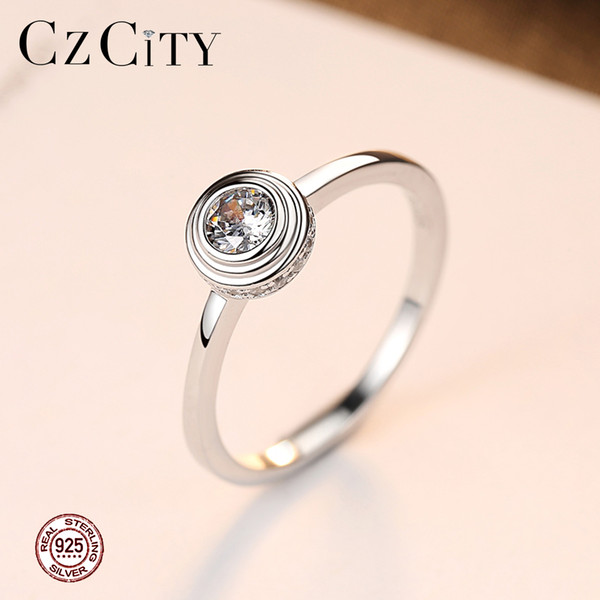 PAG&MAG Brand Elegant 925 Silver Wedding Ring With Round Clear Fashion Fine CZ Crystal For Women Party Gift Jewelry