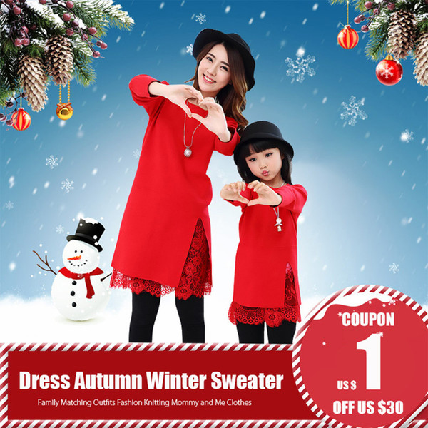 Mom And Daughter Dress Autumn Winter Warm Red Lace Splice Sweater Family Matching Outfits Fashion Knitting Mommy And Me Clothes J190514