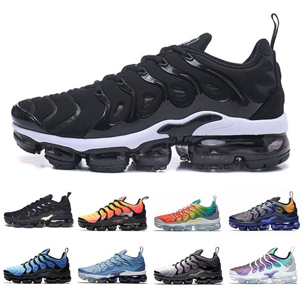 best selling 2020 tn Plus Bumblebee Mens Women Running Shoes Geometric Black White Lemon Lime USA Game Royal Wolf Grey Trainers Sports Sneakers Size 13