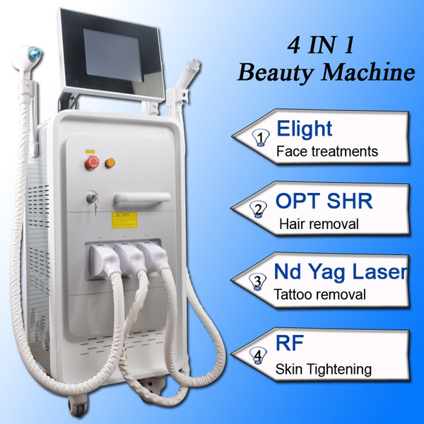 4 in 1 beauty spa use equipment e-light ipl rf Pigments removal nd yag laser Tattoo removal SHR laser hair removal multifunction machine