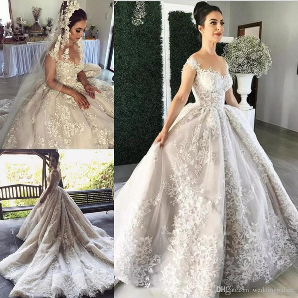 Latest Sheer Neckline A-line Wedding Dresses Puffy Chapel Train Lace Appliqued Bridal Dresses with Covered Buttons Wedding Gowns