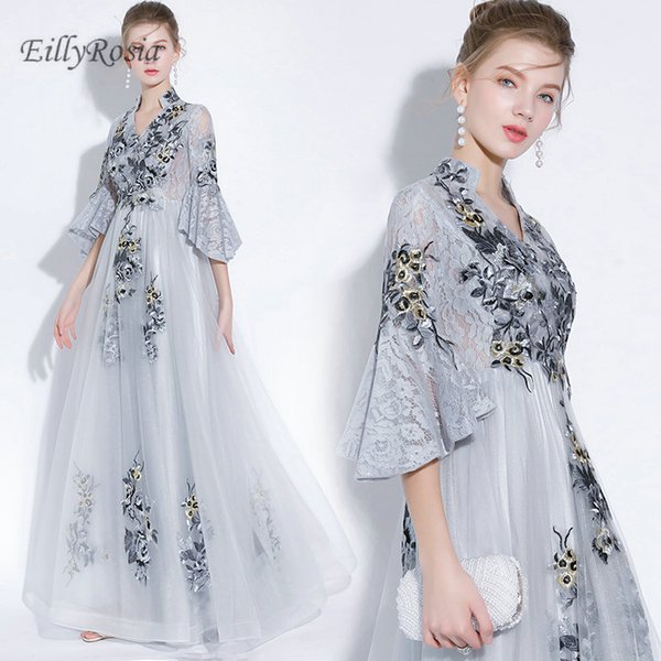 Lace Silver Evening Dresses Embroidery Lace Appliques Tulle Juliet Trumpet Sleeve High Neck Elegant Evening Party Gowns for Women