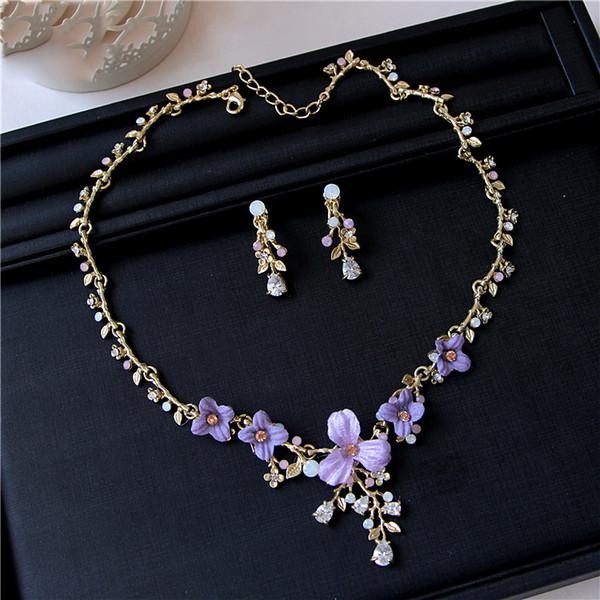 Romantische Gold Brautschmuck 2 Stücke Sets Halskette Ohrringe Brautschmuck Braut Zubehör Hochzeit Schmuck T219150