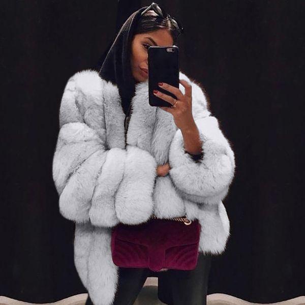 916214eff6b Women Faux Fur Jacket Winter Warm Coats 2018 New Women s Fashion Winter Warm  Fuax Fur Long