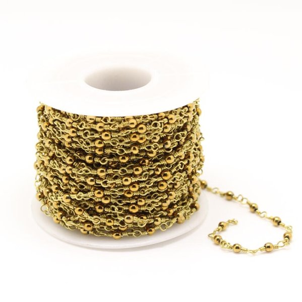 Golden Plated Iron Pyrite Beads Chains,Wire Wrapped Brass Rosary Links Bracelet Necklace Making,3mm