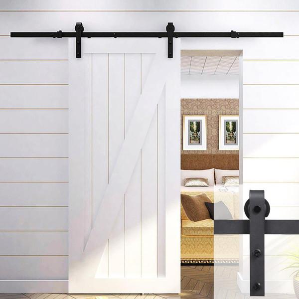 best selling 6.6Ft Antique Single Black Steel Sliding Barn Door Hardware Kit Track System Set