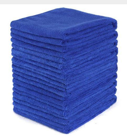 top popular 100pcs Blue Car Soft Microfiber Cleaning Towel Absorbent Washing Cloth Square for Home Kitchen Bathroom Towels Auto Care 30x30cm 2019