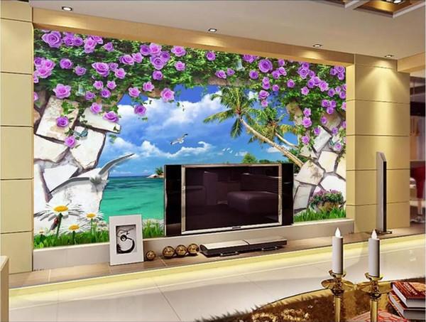 3d tapete benutzerdefinierte fototapeten Floral beach natur landschaft 3D hintergrund wand name wandaufkleber wohnkultur wandkunst bilder