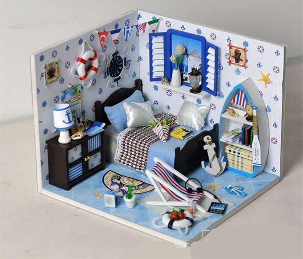 Luminous Summer ocean sailors sea light DIY Wooden Miniatura Doll House Furniture Handmade 3D Building blocks free assembly Toy