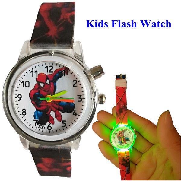 Fashion kids children boys spiderman soft rubber flash watch wholesale students christmas birthday gift quartz light watches